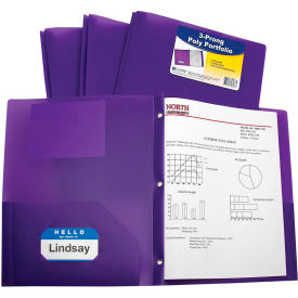 C-Line Products Two-Pocket Heavyweight Poly Portfolio Folder with Prongs, Purple Package Count 12 by