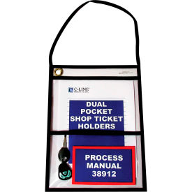 C-Line Products Two-Pocket Shop Ticket Holder w/Hanging Strap, Stitched, Clear, 9 x 12, 15/BX
