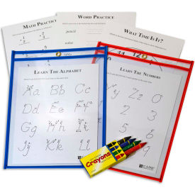 C-Line Products Reusable Dry Erase Pockets, Assorted Primary Colors, 9 x 12, 2/PK