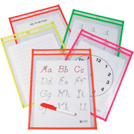 C-Line Products Reusable Dry Erase Pockets, Assorted, 9 x 12, 10/PK