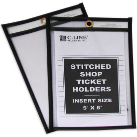 C-Line Products Shop Ticket Holders, Stitched, Both Sides Clear, 5 x 8, 25/BX - Pkg Qty 2