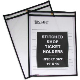 C-Line Products Shop Ticket Holders, Stitched, Both Sides Clear, 11 x 14, 25/BX