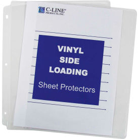 C-Line Products Side Loading Vinyl Sheet Protector, Clear, 11 x 8 1/2, 50/BX