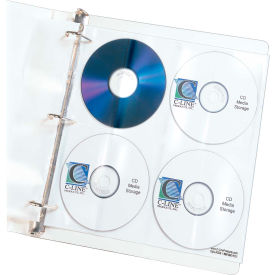 C-Line Products Deluxe CD Ring Binder Storage Pages, Standard, Stores 8 CDs, 5/PK - Pkg Qty 5