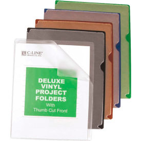 C-Line Products Deluxe Vinyl Project Folders with Colored Backs, 11 x 8 1/2, 35/BX