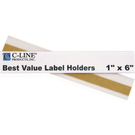 C-Line Products Best Value Peel & Stick Shelf/Bin Label Holders, 1 In. x 6 In. Label Holder, 50/PK