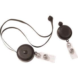 C-Line Products Retractable Adjustable Neck Lanyard, Black, 12/PK