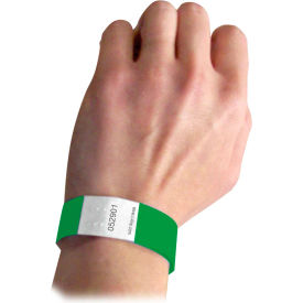C-Line Products DuPont Tyvek Security Wristbands, Green, 100/PK - Pkg Qty 2