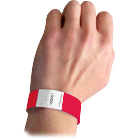 C-Line Products DuPont Tyvek Security Wristbands, Red, 100/PK - Pkg Qty 2