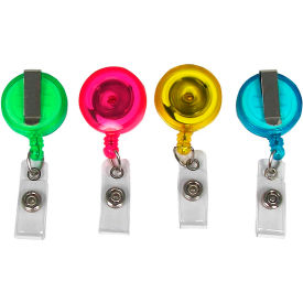 C-Line Products Translucent ID Card Reel, Assorted Pastel Colors, 4/PK - Pkg Qty 2