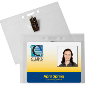 C-Line Products ID Badge Holders, Horizontal w/Clip, 4 x 3, 50/BX by
