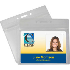 C-Line Products Zippered Badge Holders, Horizontal, 50/PK