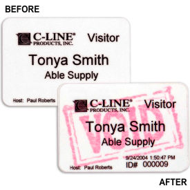 C-Line Products Time's Up! Self-Expiring Visitor Badges, Light Sensitive Badge, 3 x 2, 100/BX