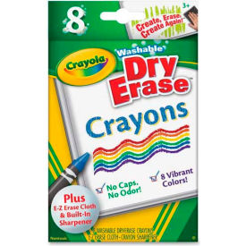 Crayola® Washable Dry Erase Crayons, Nontoxic, Assorted Colors, 8/Box