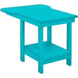 CR Plastics Outdoor Tete-A-Tete Table with Umbrella Hole - Turquoise - Generation Series
