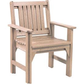 "Generations Dining Slat Back Style Arm Chair, Beige, 21""L x 25""W x 36""H"