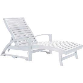 """St. Tropez Chaise Lounge w/wheels, White, 72""""L x 24""""W x 36""""H"""