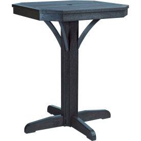 "St Tropez 28"" Square Counter Pedestal Table, Black, 28""L x 28""W x 36""H"