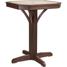 "St Tropez 28"" Square Counter Pedestal Table, Chocolate, 28""L x 28""W x 36""H"