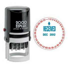 """Cosco® 2000 Plus® Self-Inking Message/Date Stamp, RECEIVED, 1-5/8"""" Diameter, Red/Blue"""