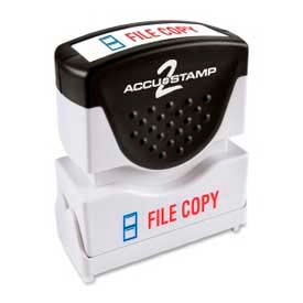 """Cosco® Pre-Inked Message Stamp, FILE COPY, 1/2"""" x 1-5/8"""", Blue/Red"""