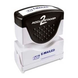 """Cosco® Pre-Inked Message Stamp, E-MAILED, 1/2"""" x 1-5/8"""", Blue"""