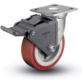 """Colson® 4 Series Swivel Plate Caster 4.05109.929 BRK2 SS Poly With Brake 5"""" Dia. 750 Lb."""