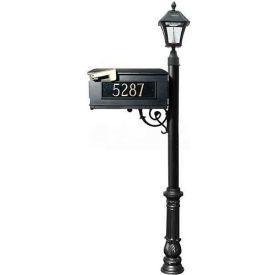 Qualarc Mailbox, Post (Ornate Base & Black Bayview Solar Lamp), w/3 Address Plates, Support Brace, Black