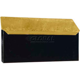 Provincial Series Horizontal Wall Mount Mailbox in Hammered Black w/Polished Brass Lid