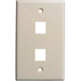 Vertical Cable, 304-J2635/2P/IV, Double (2) Port Keystone Wall Plate (Flush) Ivory