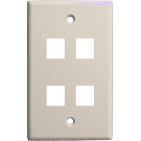Vertical Cable, 304-J2641/4P/IV, Quad (4) Port Keystone Wall Plate (Flush) Ivory