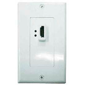 Single Gang Decora Wall Plate, HDMI Female, (1) Repeater Passthru, White