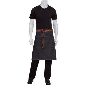 """Chef Works® AW049BLK0 - Memphis Bistro Apron W/Grommets, Denim, Black, 24""""L x 32""""W"""