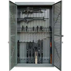 "Datum 72"" High 24 Rifle, 20 Pistol Capacity Gun Cabinet, Hinged Doors, Hammertone Gray"