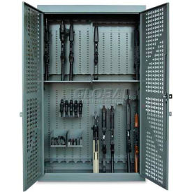 "Datum 72"" High 24 Rifle, 5 Pistol, Capacity Gun Cabinet, Hinged Doors, Hammertone Gray"