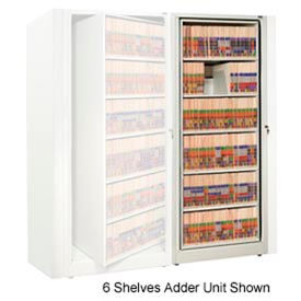 Rotary File Cabinet Adder Unit, Legal, 7 Shelves, Bone White