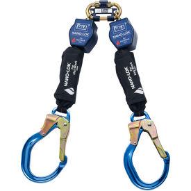 Nano-Lok™ Twin-Leg Quick Connect Self Retracting Lifeline, Aluminum Locking Rebar Hook, 6'