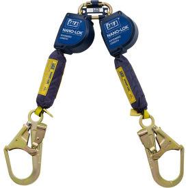 Nano-Lok™ Extended Twin-Leg Self Retracting Lifeline, Steel Rebar Hooks, Quick Connector, 9'