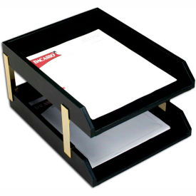 DACASSO Classic Black Leather Front-load Letter Trays with Gold Stacking Posts by