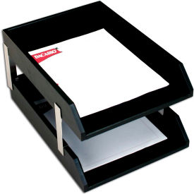 DACASSO Classic Black Leather Double Letter Trays with Silver Posts by