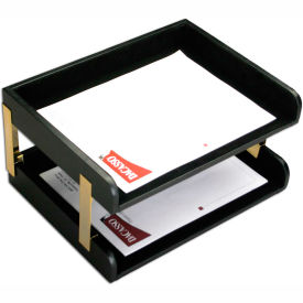 DACASSO Classic Black Leather Double Side-Load Letter Trays with Gold Posts by