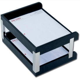 DACASSO Classic Black Leather Double Side-Load Letter Trays with Silver Posts by