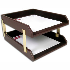 DACASSO Chocolate Brown Leather Double Letter Trays by