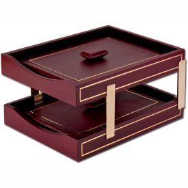 DACASSO Burgundy 24Kt Gold Tooled Double Letter Trays w/Lids by