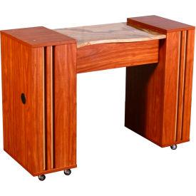 "Deco Adelle Manicure Table, FT502-925-779, Light Cherry, Brown Marble, 16""D x 42""L x 30""H"