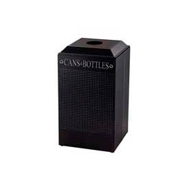 Rubbermaid® Silhouette DCR24C Recycling Receptacle w/Can & Bottle Opening, 29 Gallon - Black