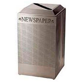 Rubbermaid® Silhouette DCR24P Recycling Receptacle w/Newspaper Opening, 29 Gallon - Stainless