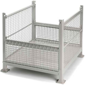 "Davco Wire Mesh Steel Container R2GW-01 - 40-1/2""x34-1/2""x32"" 2 Gates Gray"