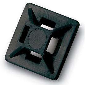 """Del City 9806 Mini 4-way Adhesive Mtg Base- 3/4"""" sq- Black, 100 Pieces"""