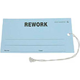 """ESD Tag """"Rework"""" Blue 2-3/4"""" x 5"""" 100 Pack"""